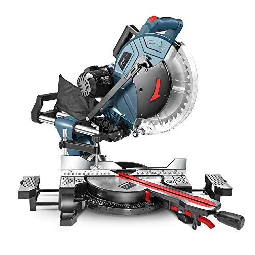 Compound Miter Saw, REYLEO 12-inch, 15Amp Dual-Bevel Sliding Miter Saw with 40T Blade, Laser, and Extensible Table (Multi-angle cutting)-RMS01A