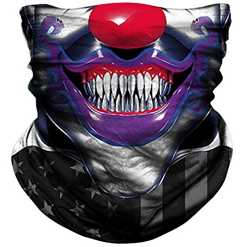 NTBOKW Neck Gaiter Face Mask for Men Women Tube Scarf Mask for Sun Wind Dust Protection Clown Face Mask Rave Motorcycle Riding Biker Fishing Festival Outdoor Summer Seamless Bandana (H0603)