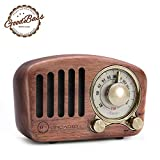 Vintage Radio Retro Bluetooth Speaker-Greadio Walnut Wooden FM Radio with Old Fashioned Style,Strong