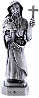 Pewter Catholic Saint St Brendan Statue with Laminated Prayer Card, 3 1/2 Inch