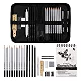 Brite Crown 22-Piece Drawing Set with Case and 100-Sheet Sketch Book - Sketching Pencil Art Set Includes Graphite & Charcoal Drawing Pencils, Graphite Sticks, Kids Art Supplies with Shading Tools