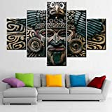 5 Piece Wall Art Ancient Mexico Totem Pictures Mayan and Aztecs Mask Paintings Printed on Canvas Giclee Contemporary Artwork Living Room House Decoration Stretched Framed Ready to Hang(60''W x 40''H)