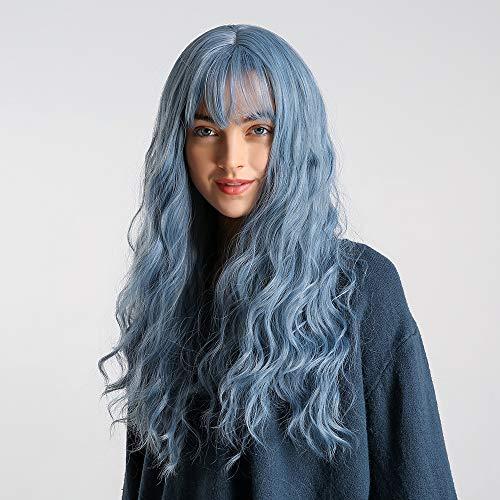 24 Zoll Blaue lange gewellte Haar Perücken, GLAMADOR blaue Damenperücke mit Pony, langes gewelltes Haar, synthetische volle Perücken, hitzebeständige Faser synthetische Cosplay Perücke