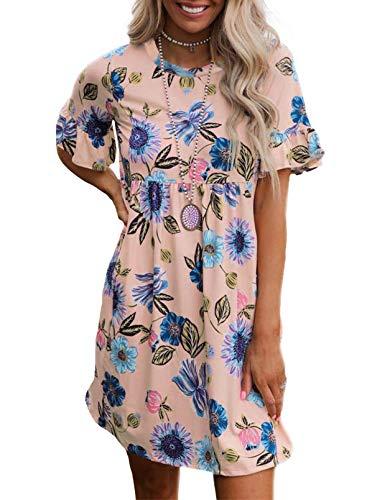 FOBEXISS Vestito da donna tunica casual stampa floreale abito da casa girocollo estate mini abito rosa L