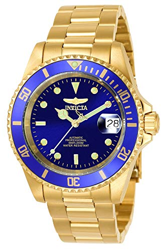 Invicta Men's Pro Diver 40mm Gold Tone Stainless Steel Automatic Watch with Coin Edge Bezel, Gold/Blue (Model: 8930OB)