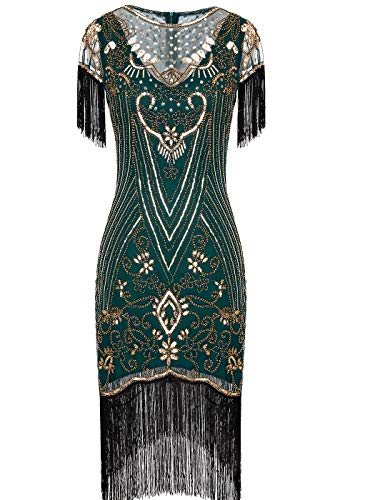 Women's 1920s Lace Neck Great Gatsby Flapper Dress with Sleeves XL Green Gold