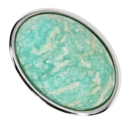 Sogni d'oro - Anello da donna in argento sterling 925 con amazzonite verde e Argento, 50 (15.9), colore: verde, cod. SB362137