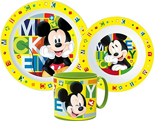 Mickey - Set di stoviglie per bambini con piatto, ciotola e tazza