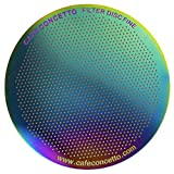 Filter for AeroPress - CAFE CONCETTO - Disc Fine - Reusable - Premium Coated Stainless Steel (Rainbow, Metal) - Brew Tips Included