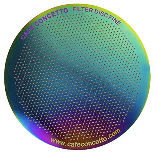 CAFE CONCETTO Filter for use with AeroPress Coffee Makers  Disc Fine  Reusable  Premium Coated Stainless Steel Rainbow Metal  Brew Tips Included