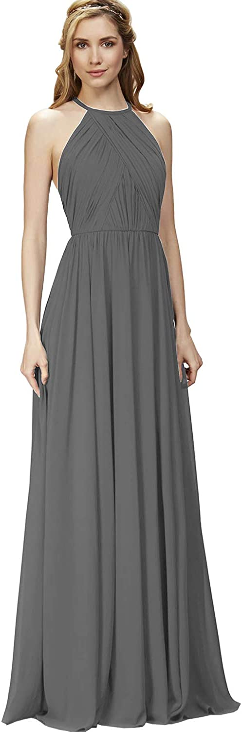 Women's Halter Backless A Line Pleated Chiffon Bridesmaid Dress Long Formal Evening Party Gown