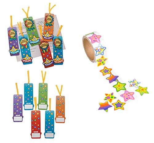 48 Star Student Bookmarks & 100 Funky Star Stickers ~ Goody Bags, Giveaways, Classroom Student Awards
