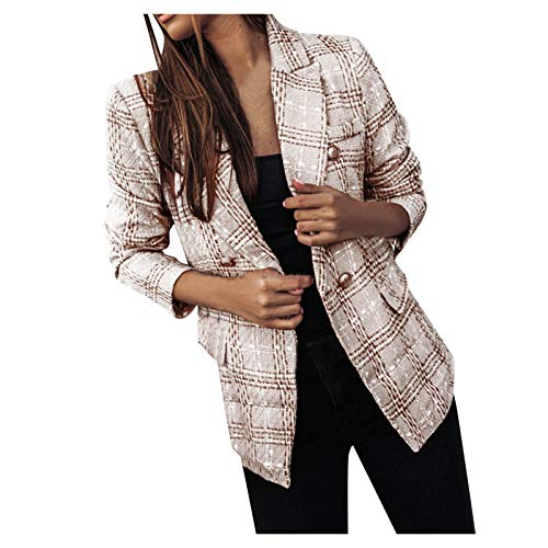 Janly Clearance Sale Long Sleeve Ladies Coat, Women Plaid Check Suit Satin Jacket Formal Cardigan Pocket Work Office Suit Coat, for Winter Christmas (Wine/XXL)
