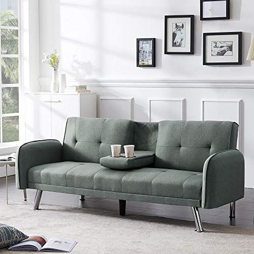 SIRUITON Convertible Futon Sofa Bed for Living Room with Armrest & Fold Up & Down Recliner Couch with Cup Holders (sage Green)