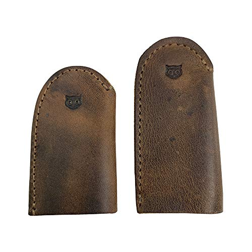 Hide & Drink, Leather Thimble for Thumb & Index Finger, 3 Pairs (6 Pcs), Finger Protector, Sewing Thimble, Hand Applique & EPP, Quilting, Handmade Includes 101 Year Warranty :: Bourbon Brown