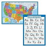 2パック – 米国地図ポスター [ブルーオーシャン] & 原稿手書きABCアルファベットチャート (ラミネート 18インチ x 24インチ)