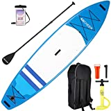 ANCHEER Inflatable Stand Up Paddle Board, 11' Touring iSUP Double Layer (6 Inches Thick), Premium SUP Accessories, Bottom Fin for Paddling, Adjustable Paddle, Leash, Hand Pump and Backpack,Non-Slip De