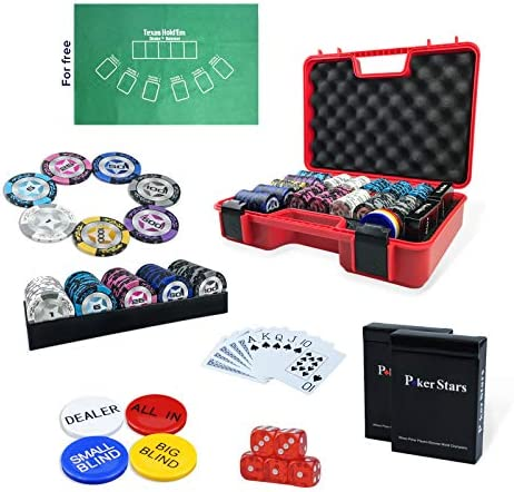 Professional Poker Chips Set 300 pc with 40mm Casino Chip 2 Decks of 100 Plastic Playing Cards product image