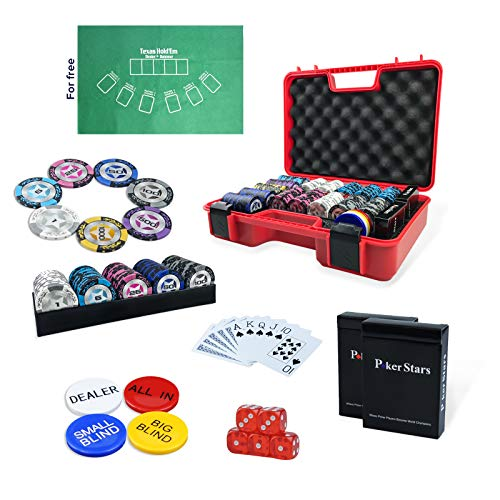 Professional Poker Chips Set 300 pc with 40mm Casino Chip, 2 Decks of 100% Plastic Playing Cards, Trays, All in, Dealer, Big Blind, Small Blind Buttons