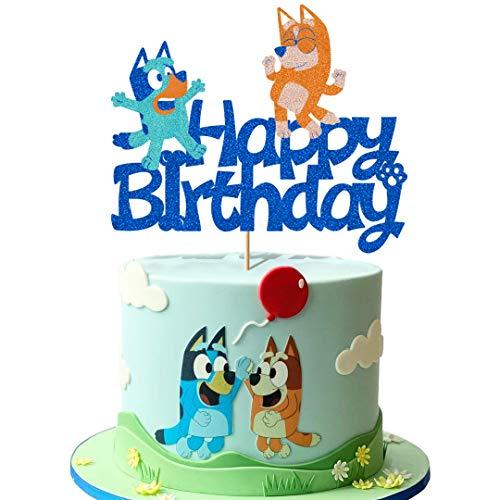 Glorymoment Bluey Birthday Cake Topper, Glitter Happy Birthday Cake Topper for Bluey and Bingo Themed Party Decoration, Kids Boys Girls Birthday Party (6.7'' x 5.59'')