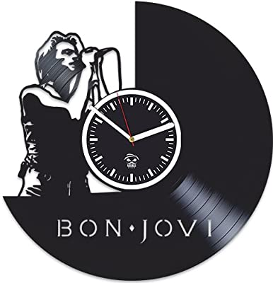 Bon Jovi Vinyl Wall Clock It's My Life Handmade Best Gift for Musician Vinyl Record Kovides Valentines Day Gift for Men Birthday Gift for Boy Bon Jovi Clock Wall Clock Large