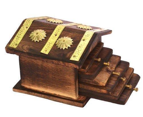 India Big Shop Holz Handgefertigte Hütte Geformte Holz Tee Coaster - Set von 6 Getränk Coster Geeignet für Whisky Gläser und alle heißen und kalten Getränken 4 Zoll