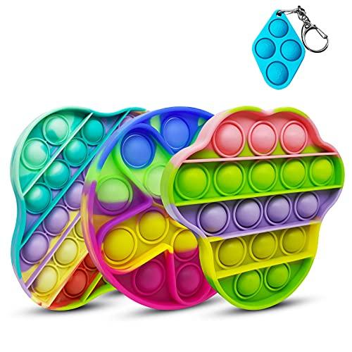 NUDGE 3pcs Pop it Toy, Decomprimere Il Giocattolo, Gioco del Cervello, Intrattenimento Interattivo Genitore-Figlio, Il Materiale in Silicone Resistente e Facile da Pulire, (Rainbow Colors)