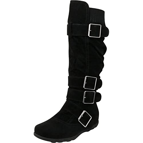 6453b5f21e8 Cambridge Select Women s Buckle Sweater Knit Flat Knee-High Boot