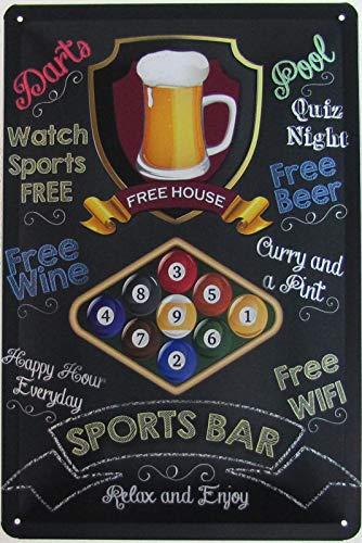 Blechschild 20x30cm gewölbt Sports Bar Snooker Billard Pub Bar Deko Geschenk Schild Kneipe