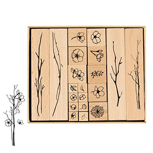 Dulau 20 Stück Holz Stempel, Stempelset Gummi, Stempel aus Holz mit Natur Pflanzen Blumen Motive, Dekorative Stempel für die Herstellung von Karten, Kunsthandwerk, Geschenken und DIY Scrapbooking