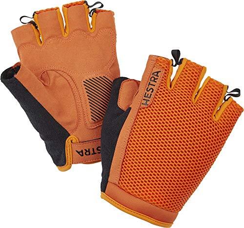 Hestra Short Sr. Breathable Protective Bike Glove for Men/Women | 5-Fingerless Shock Absorbing Breathable Bike Glove for Mountain Biking - Orange - 7