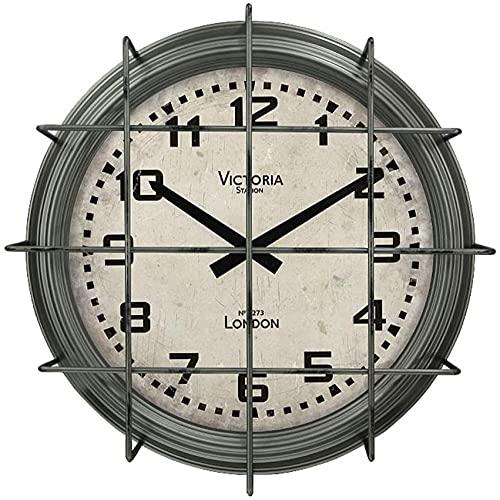 Reloj de pared industrial para sala de estar, estilo vintage, para colgar en la pared, reloj de pared de hierro redondo 9/16 para sala de estar, dormitorio, oficina (color B: B) - C