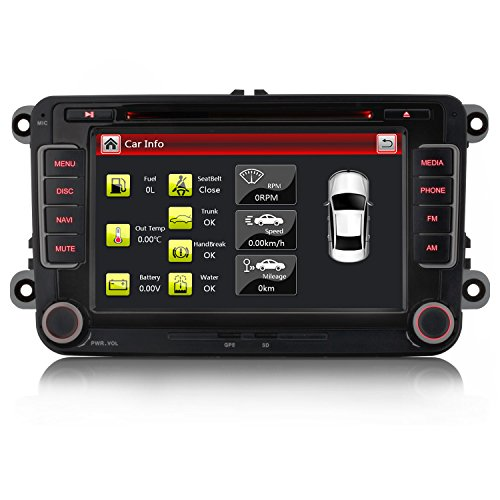iFreGo 7 Zoll 2 Din Autoradio Für VW Golf 5/6 Tiguan EOS Caddy Polo Jetta,GPS Navigation,DVD CD Player,Windows CE 6.0,DAB+ autoradio unterstützt Lenkradsteuerung Bluetooth