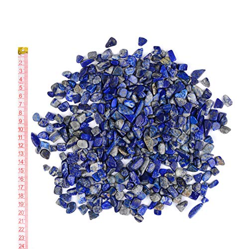 51rwC3UeiiL - Georgie Porgy Kristallkies Rocks Pebbles Trommelsteine Crushed Stone Healing Reiki Kristall Aquarium Kies für Aquarium Sukkulenten Hausgarten Geschenke Dekoration (Lapislazuli 7-9 mm)