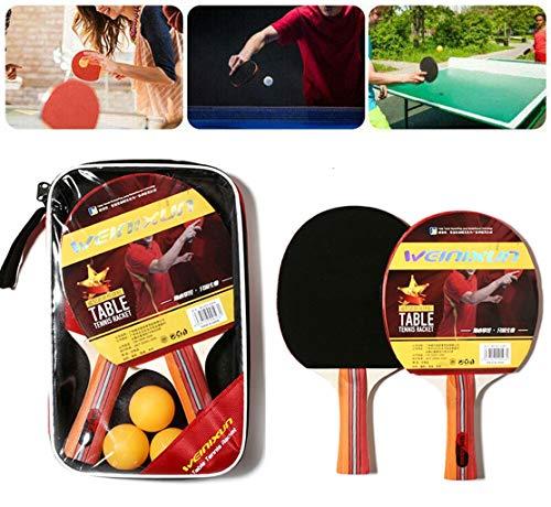 Tischtennis-Set, Tischtennisschläger Tischtennis Schläger Ping-Pong-Schläger Set Trainings Tischtennis Schläger Set Tischtennis-Schläger + Tischtennis-Bälle + Tragbare Tasche für Anfänger