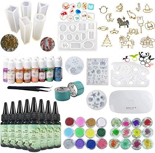 UV Resina Epoxi Kit 180ml con Moldes Silicona + Biseles + Pigmento...