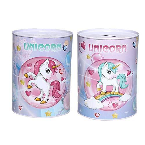 DISOK - Hucha Metálica Unicornios. Ideales para Las Celebraciones de Bodas, bautizos, comuniones, Eventos, colegios. (1)