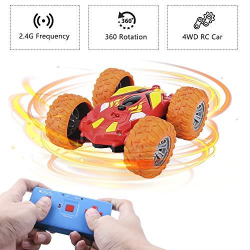 welltop Ferngesteuertes Auto Lastwagen Kinderspielzeug für Jungen Mädchen, Dual Modi 360° Drehbarer Stunt Rennwagen USB-Kabel, RC Cars Fahrzeuge Spielzeug Geschenk für Jungen Mädchen