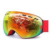 HHORD Gafas De Esquí para Hombres Y Mujeres - Anti-Niebla Nieve Gafas Reemplazables De La Lente Doble Protección UV, Ventilación Y Aire Ajustable Cinta De Cabeza para El Snowboard,A