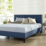 ZINUS Misty Upholstered Platform Bed Frame / Mattress Foundation / Wood Slat Support / No Box Spring Needed / Easy Assembly, Navy, King