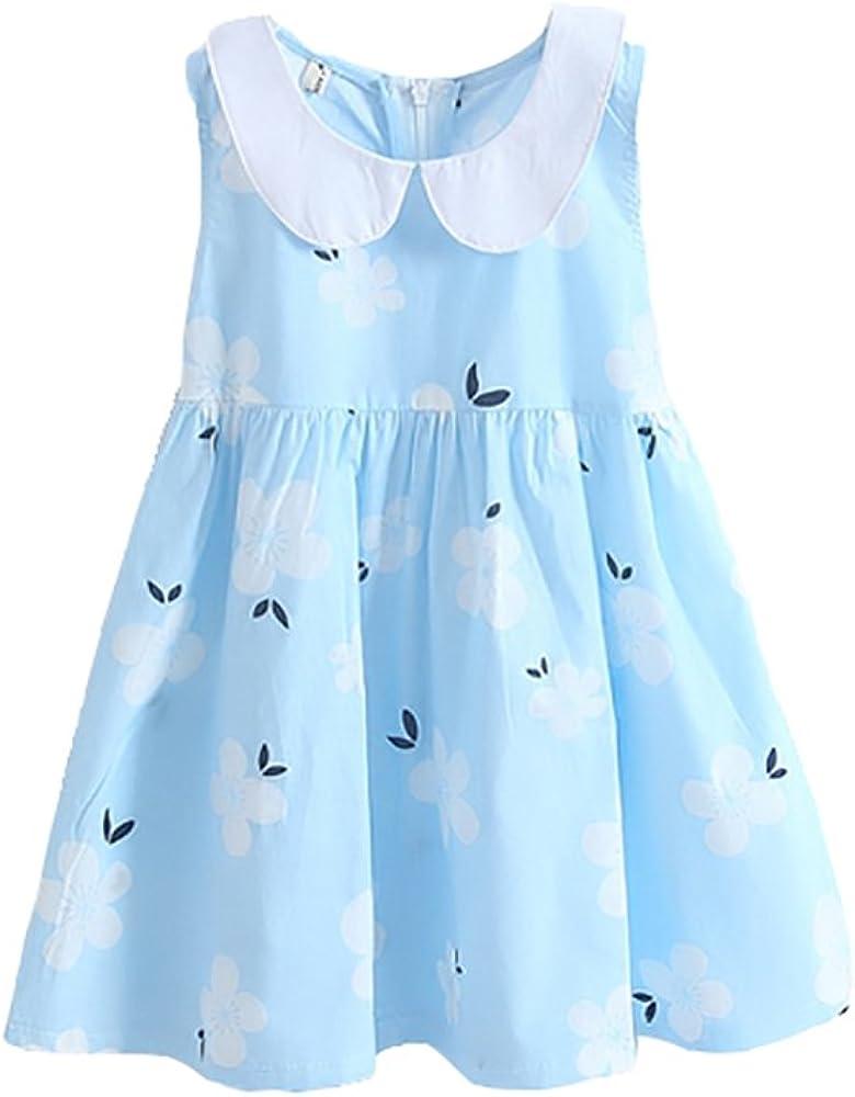 ABALACOCO Girls Kids 100% Cotton Crew Neck Red Cherry Summer Sleeveless Sundress Casual Tutu Party Dress 2-8Ts