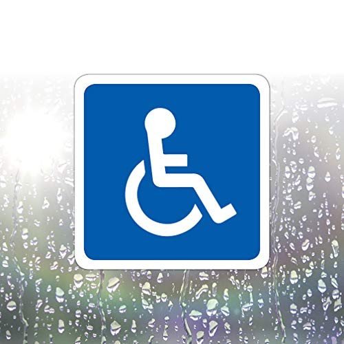 5 Pack of Disabled Logo/Wheelchair Symbol ADA Compliant Handicap Access Accessible 2 x 2 Inch Blue Stickers Waterproof Car Parking Vinyl Decals