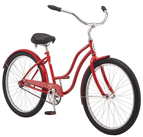 Schwinn Mikko Adult Beach Cruiser Bike, Featuring 17-Inch/Medium Steel Step-Over Frames, 1-Speed Drivetrains, Red