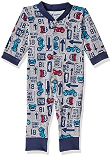 Papillon Cotton Printed Long-Sleeve Snap-Closure Bodysuit for Boys - Navy and Grey, 6-9 Months