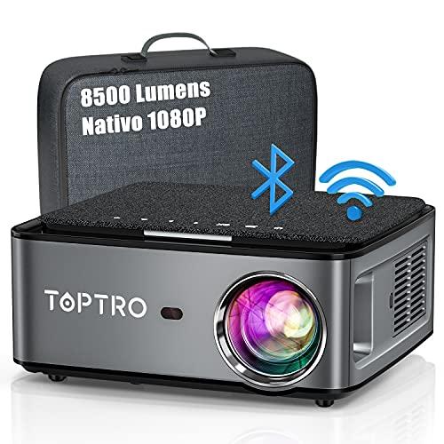 TOPTRO 5G Proiettore WiFi Bluetooth 8500 Lumens con Custodia da Trasporto, Proiettore 1080P Nativo Aggiornato, Supporto 4D Keystone   Zoom   4K, Compatibile con Telefono   TV Stick   PC   USB   PS4