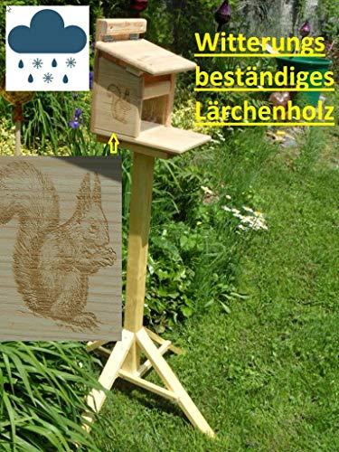 Qualität aus Niederbayern ARBRIKADREX Eichhörnchenfutterhaus Eichhörnchen Haus Kobel mit Ständer. Von Hand gefertigt im Bayerischen Wald