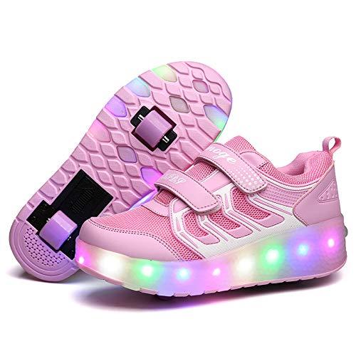 Unisex Kinder Jungen Mädchen LED Rollschuh Schuhe Mit USB Aufladen Blinken Leuchtend Skateboardschuhe Outdoor-Sportarten Gymnastik Turnschuhe Für Jungen Mädchen,Pink-28