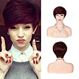 Short Wigs Pixie Cut Wig with Bangs Layered Synthetic Straight Heat Resistant Hair Wig for Women Daily and Dating Wedding (118)