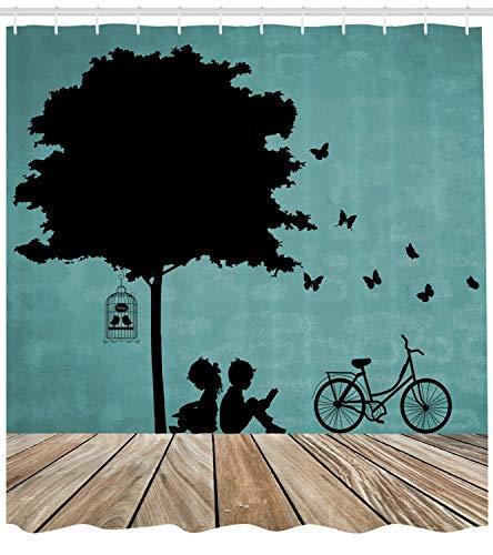 123456789 Kinderen Douche Gordijn Jongen en Meisje onder een Boom Print voor Badkamer