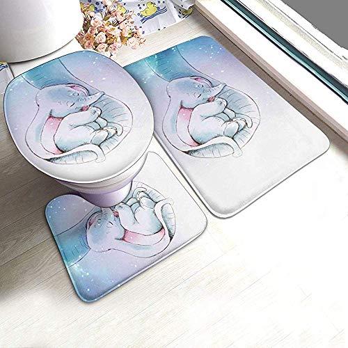 Niedliche Dumbo-o Badezimmer Teppich Set 3 Stück, rutschfeste Badematte + U-förmige Kontur Teppich + WC Deckel Abdeckung